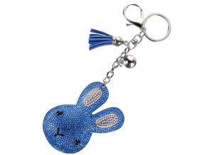 Prívesok na kľúče, blankytný zajac s kamienkami, strapec a gulička