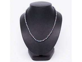 Náhrdelník z čiernych oválnych riečnych perál, bižutéria