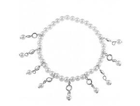 Náramok na nohu pre ženu s príveskami, kamienky a perličky bižutéria