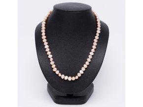 Náhrdelník z oválnych riečných perál ružovej farby, bižutéria