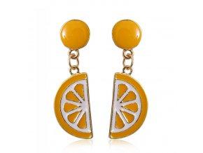 Dámske visiace naušnice, oranžové pomaranče, bižutéria