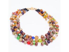 Náhdelník z farebných riečnych kameňov a korálikov, bižutéria