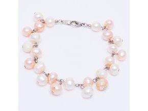 Náramok z riečnych perál, bielá a ružová farba, bižutéria