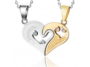 Prívesok pre dvoch z ocele, srdce z nápisom zlatá a strieborná farba