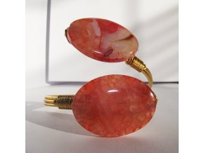 Náramok z prírodným ružovým kameňom, bižutéria