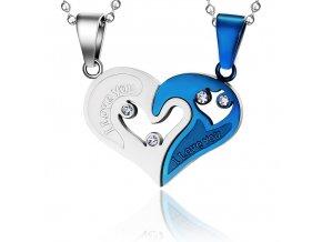 Prívesok pre dvoch z ocele, srdce z nápisom modrá a strieborná farba
