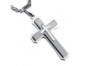 Pánska retiazka s krížom z chirurgickej ocele, strieborná farba