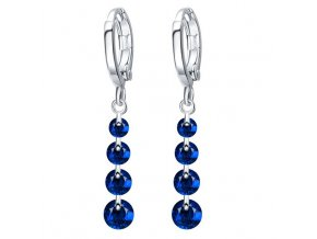 Visiace dámske zirkónové náušnice, 4 zirkóny modrej farby bižutéria