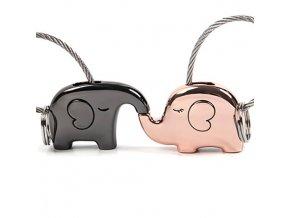 Kľúčenky pre dvoch, zamilované slony, lanko a dve farby 01