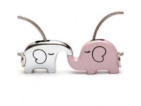 Kľúčenky pre dvoch, lanko a dve farby, zamilované slony