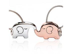 Kľúčenky pre dvoch, zamilované slony, strieborná ružovo zlatá farba (1)