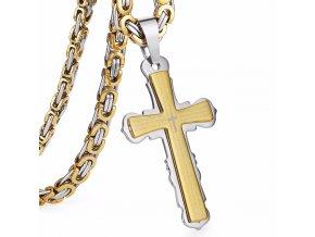 Pánska retiazka s krížom z ocele, kráľovský vzor, dve farby, modlitba (1)