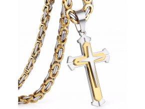 Pánska retiazka na krk s krížom, kráľovský vzor, dve farby, oceľ (1)