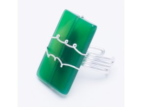 Prsteň s prírodým kameňom, zelená farba, bižutéra