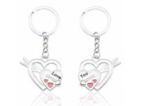 Prívesky na kľúče pre dvoch, srdce a šíp, čierna a červená glazúra (1)