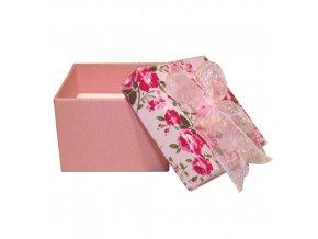 Krabička na prsteň ružovej farby, kvetinkový vzor
