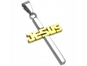 Prívesok kríž z chirurgickej ocele, nápis JESUS, dve farby (1)