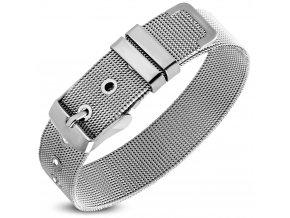 Náramok na ruku z ocele, sieťovaný opasok, strieborná farba 14 mm (1)