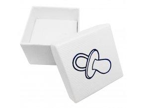 Biela krabička na šperk, modrý detský cumlík