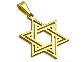 Prívesok dávidova hviezda zlatej farby, chirurgická oceľ (1)