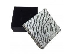 Krabička na šperk čiernej farby, trblietavé viečko, zebrový motív