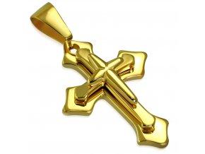 Prívesok latinsky kríž na retiazku, zlatá farba, chirurgická oceľ (1)