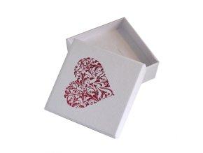 Ozdobná krabička na šperky, bielá farba a srdcový ornament