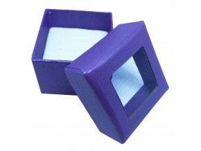 Vitrínková fialová darčeková krabička na prsteň alebo náušnice
