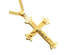 Pánska retiazka s krížom, zlatá farba a pieskovanie, Ježiš (1)