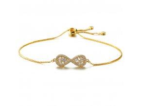Dámsky náramok so zirkónmi, symbol nekonečna, zlatá farba bižutéria (1)