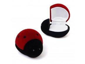 Darčeková zamatová krabička na šperk, červeno čierna lienka (1)
