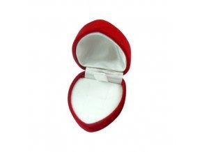 Zamatové červené srdiečko, darčeková krabička na prsteň