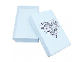 Darčekové balenie na sadu šperkov, červené ornamentové srdce
