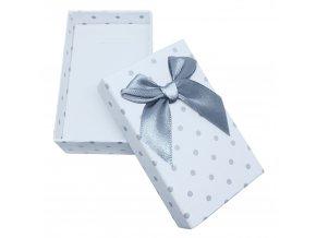 Darčeková krabička na sadu šperkov, šedé bodky a mašľa