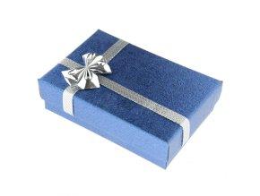Modrá darčeková krabička ne set, stužka striebornej farby