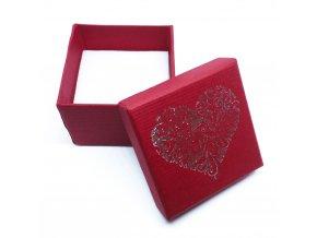 Darčeková krabička na presteň, ornamentové srdce striebornej farby