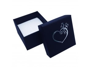 Čierna darčeková krabička na presteň, srdce striebornej farby