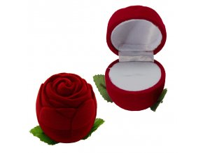 Zamatová bordová ruža, darčeková krabička na zásnubný prsteň (1)