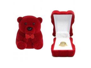 Zamatové balenie na zásnubný prsteň, červený macko a mašľa (1)