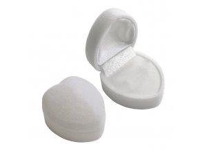 Zamatové darčekové balenie na prsteň, biele srdce (1)