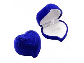 Zamatové balenie na prsteň, modré srdce a ruža (1)