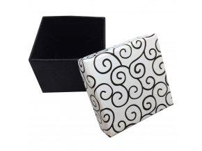 Darčeková krabička na náušnice, biela farba a čierny ornament