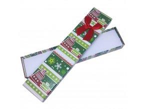 Zelená darčeková krabička na náramok, vianočný motív a mašľa
