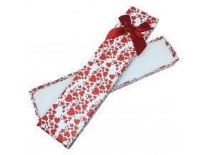Darčeková krabička na náramok, červené srdiečka a stužka