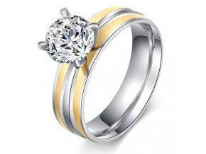Zásnubný prsteň z ocele zlatej a striebornej farby, číry kamienok Solitér (1)