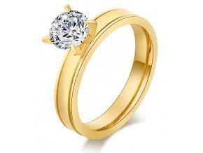 Zásnubný prsteň z ocele zlatej farby, číry kamienok Solitér (1)