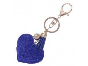Prívesok na kabelku, kráľovsky modré srdce, strapec