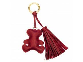 Tmavočervený prívesok na kabelku, kožený macko a strapec (1)