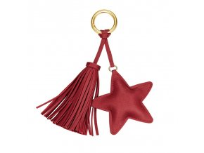 Tmavočervený prívesok na kabelku, kožená hviezda a strapec (1)