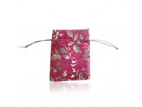 Darčekové zaťiahovacie vrecúško na šperk, fialová farba a ruže